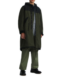 Hooded button overcoat