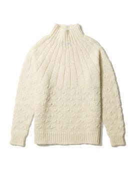 Textured turtleneck knit sweater