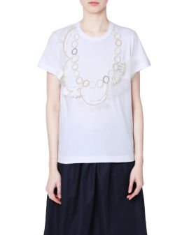Faux pearls embellished top