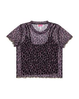 Leopard mesh top with vest set