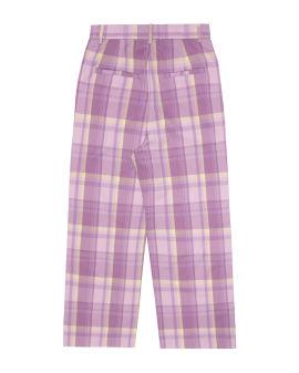 Plaid wide pants