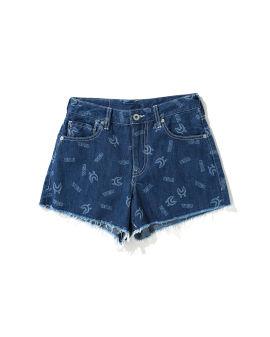 Shark Pattern Denim shorts