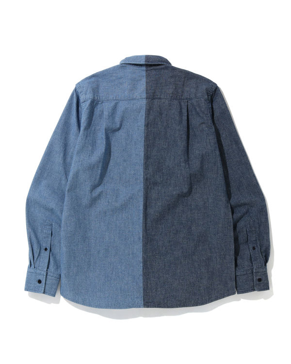 Indigo button-down shirt
