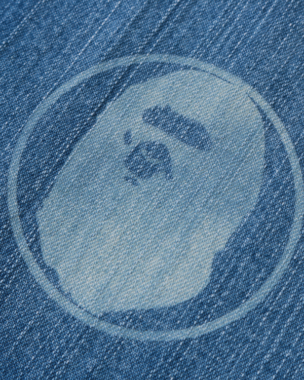 Emblem print denim shirt