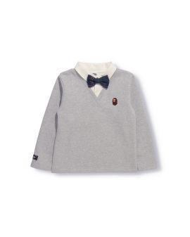 Bow Tie Shirt Layered Crewneck Sweatshirt