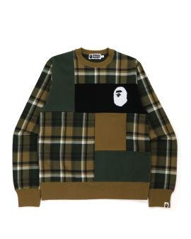 Bape Check Ape Head Crewneck Sweatshirt