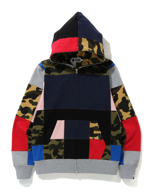 Patchwork full zip hoodie