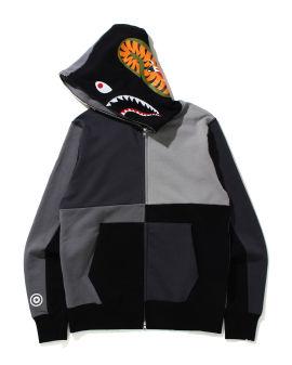 Multi Color Patchwork Shark zip hoodie