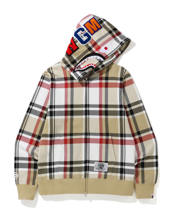 Bape Check Shark zip hoodie
