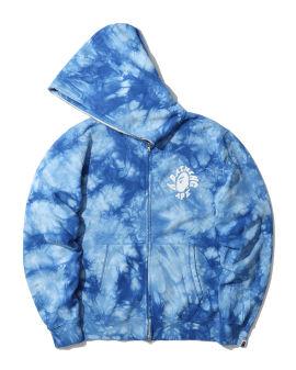 Tie dye wide full zip hoodie