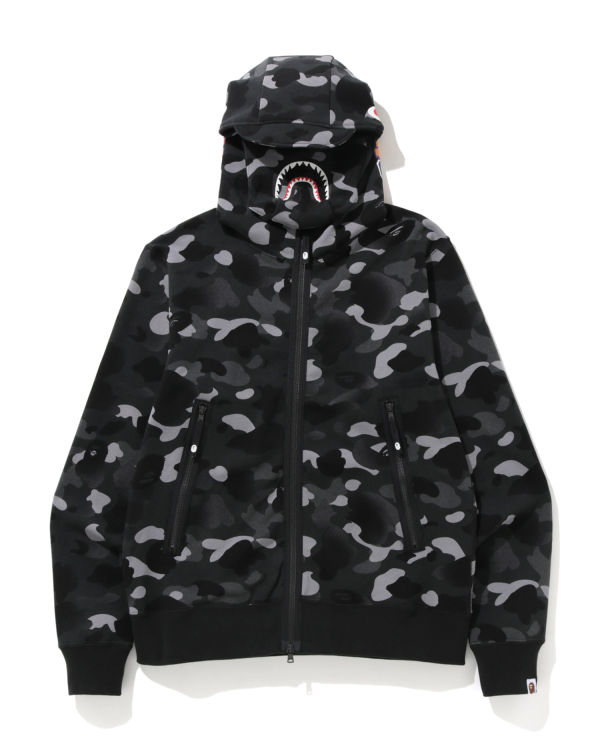 Gradation Camo Shark mask zip hoodie