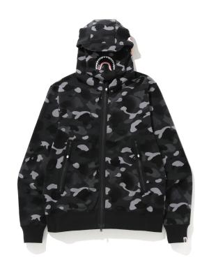Gradation Camo Shark mask zip hoodie