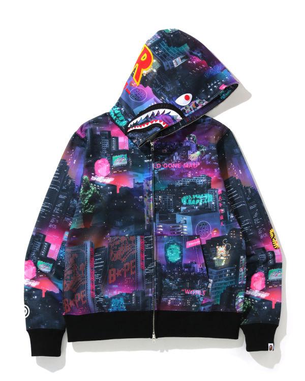 Neon Tokyo Shark zip hoodie