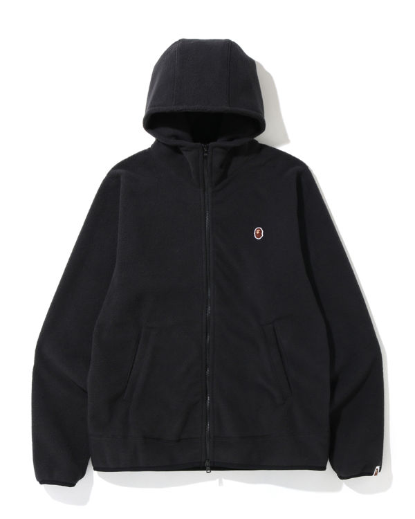 Fleece one point zip hoodie
