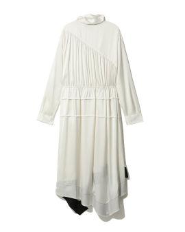 Scarf neck asymmetric dress