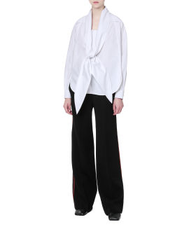Topstitched outseam tailored pants