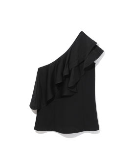 One-shoulder ruffled crepe tank top
