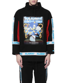 X Sonic the Hedgehog taped drawstring sweatshirt