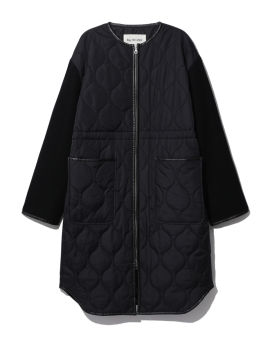 Quilted zipped overcoat