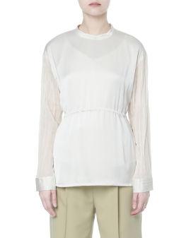 Pleated sheer sleeves top
