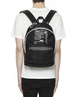 Slogan label print contrast webbing backpack