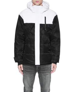Colour block quilted down jacket