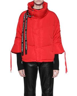 Drawstring sleeve down jacket