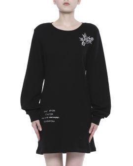 Embroidered crewneck dress