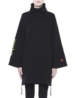 Zip-embellished printed mini dress