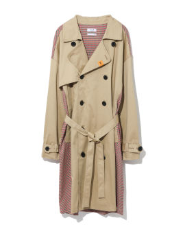 Houndstooth panelled trench coat