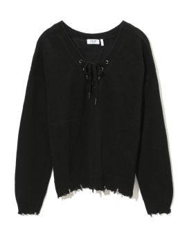 Distressed hem lace-up sweater