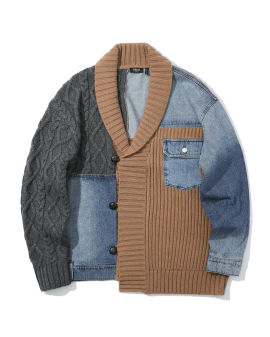 Denim patchwork cardigan