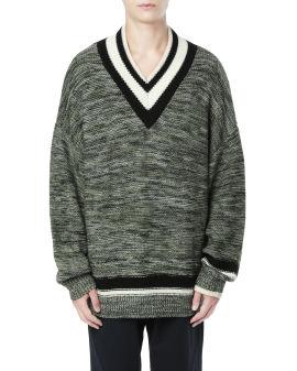 Acrylic wool V-neck sweater