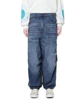 Denim spliced ripstop pants