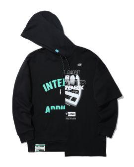 Spliced print graphic hoodie