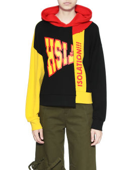 Panelled colour block hoodie