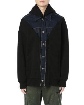 Denim panelled zip hoodie