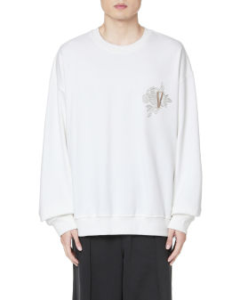 Terry embroidered rose sweatshirt