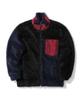 Faux fur colourblock jacket