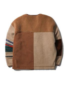 Mixed fleece zip-up sweatshirt