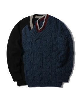 Spliced knit sweater