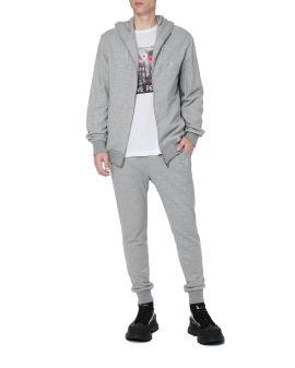 Embellished zip-up hoodie