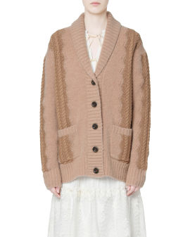 Cable knit panelled cardigan