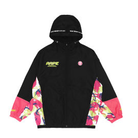 Colour block camo print jacket