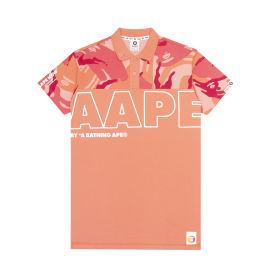 Camo panelled polo shirt