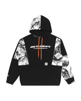 Logo camo patchwork hoodie
