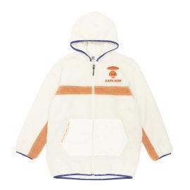 Fuzzy colour block zip hoodie
