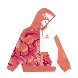 Colour block logo zip hoodie