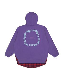 Printed panelled hoodie