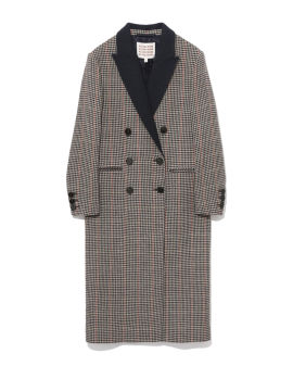 Houndstooth double-breasted coat